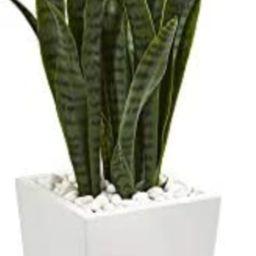 Nearly Natural 4' Sansevieria Artificial White Tower Planter Silk Plants Green | Amazon (US)
