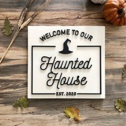 Welcome to our Haunted House Wood Sign / 3D Farmhouse | Etsy | Etsy (US)
