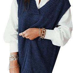 HOTAPEI Sweater Vest Women Oversized V Neck Sleeveless Sweaters Womens Cable Knit Tops | Amazon (US)