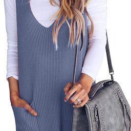 Saodimallsu Womens Racerback Tank Sweater Dresses Fall Ribbed Knit Loose V Neck Dress Pockets   Amazon (US)