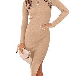 ANRABESS Women's Long Sleeve Ribbed Sweater Dress Turtleneck Slim Fit Slit Midi Dress | Amazon (US)