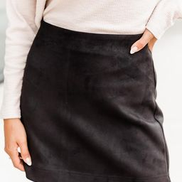 Beautiful Sound Black A-Line Suede Skirt | The Pink Lily Boutique