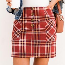 You Inspire My Heart Rust Plaid Skirt | The Pink Lily Boutique