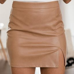 Diva Moment Tan Leather Skirt | The Pink Lily Boutique