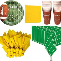Football Themed Party Supplies and Decorations - 24 Party Cups, 24 Paper Dinner Plates, 24 Penalt... | Amazon (US)