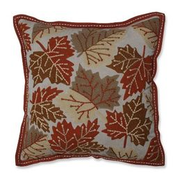 """18""""x18"""" Falling Leaves Harvest Square Throw Pillow - Pillow Perfect   Target"""