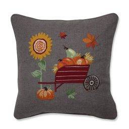 Pumpkins/Sunflower and Wheelbarrow Embroidered Throw Pillow - Pillow Perfect   Target