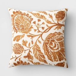 Square Floral Printed Jacobean Throw Pillow - Threshold™   Target