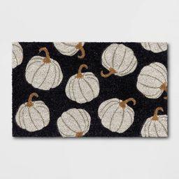 """1'6""""x2'6"""" Pumpkins Harvest Doormat Black - Threshold™   Target"""