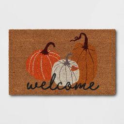 """1'6""""x2'6"""" Three Pumpkins Welcome Harvest Doormat - Threshold™   Target"""