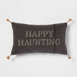 Embroidered 'Happy Haunting' Stitched Lumbar Throw Pillow Black - Threshold™ | Target