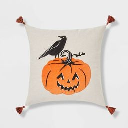 Crow and Pumpkin Square Throw Pillow Neutral/Black - Threshold™ | Target