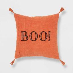 Reversible 'Boo' Square Throw Pillow Orange/Black - Threshold™ | Target