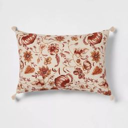 Reversible Printed Pumpkin Lumbar Throw Pillow with Corner Tassels - Threshold™   Target