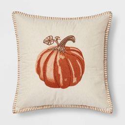 Embroidered Pumpkin Square Throw Pillow Neutral/Orange - Threshold™   Target