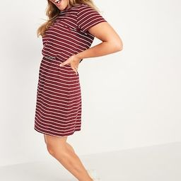 Striped Slub-Knit Waist-Defined T-Shirt Dress for Women   Old Navy (US)