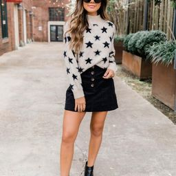 Shine In The Dark Taupe Star Sweater | The Pink Lily Boutique