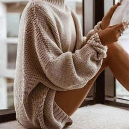 Makkrom Womens Oversized Knitted Sweaters Crewneck Jumper Loose Chunky Knit Batwing Sleeve Pullov...   Amazon (US)