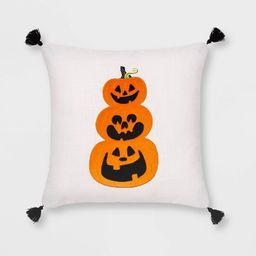 Velvet Applique Pumpkin Square Throw Pillow White/Orange - Hyde & EEK! Boutique™   Target