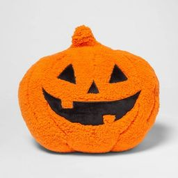 Pumpkin Shaped Sherpa Throw Pillow Orange/Black - Hyde & EEK! Boutique™   Target