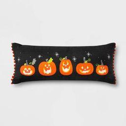 Pumpkin Lumbar Throw Pillow with Pom-Poms Black/Orange - Hyde & EEK! Boutique™   Target