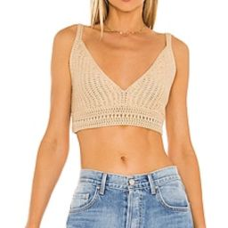 Vince Crochet Bra Top in Straw from Revolve.com | Revolve Clothing (Global)
