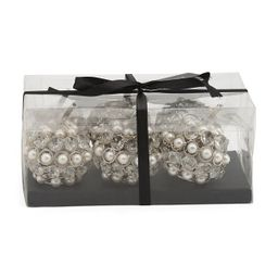 Set Of 6 Artificial Pearl Crystal Pumpkins | TJ Maxx