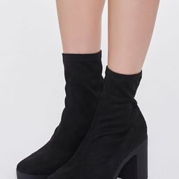 Faux Suede Platform Sock Booties | Forever 21 (US)