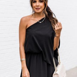 Found My Forever Black One Shoulder Maxi Dress | The Pink Lily Boutique