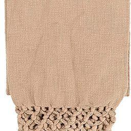 "Creative Co-Op 50"" L x 60"" W Woven Cotton Crochet & Fringe Throw, Putty   Amazon (US)"