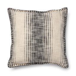"Better Homes & Gardens Reversible Stripe Decorative Square Pillow, 20"" x 20"", Black, Single Pillo... | Walmart (US)"