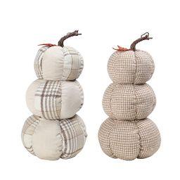 Way to Celebrate Harvest Stacked Plaid Fabric Pumpkins Décor (Set of 2) - Walmart.com   Walmart (US)