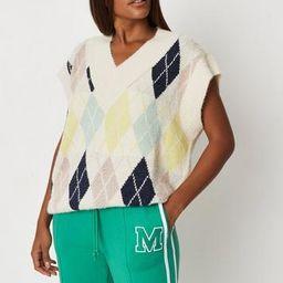 Cream Argyle Knit Sweater Vest   Missguided (US & CA)