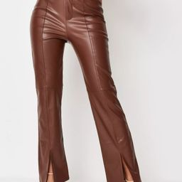 Chocolate Faux Leather Split Hem Straight Leg Pants   Missguided (US & CA)