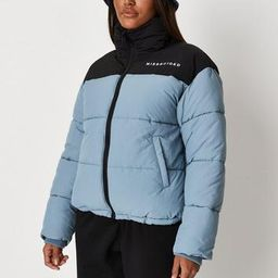 Blue Missguided Colourblock Puffer Coat   Missguided (US & CA)