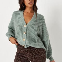 Recycled Green Soft Touch Button Knit Cardigan   Missguided (US & CA)