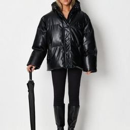 Black Faux Leather Placket Detail Puffer Jacket   Missguided (US & CA)