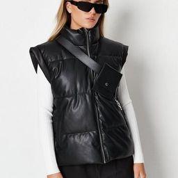 Black Faux Leather Vest Coat   Missguided (US & CA)