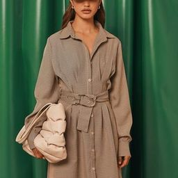 Brown Dogstooth Belted Shirt Dress   Missguided (US & CA)