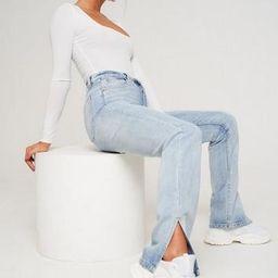 Light Blue Wrath Split Hem Jeans   Missguided (US & CA)