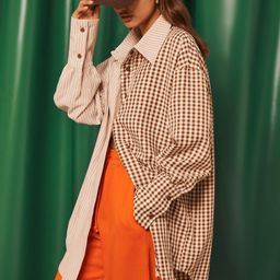 Brown Contrast Gingham Oversized Shirt   Missguided (US & CA)