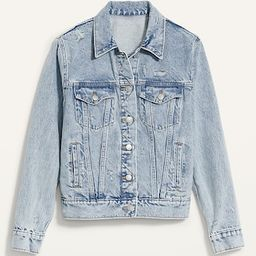 Classic Ripped Light-Wash Jean Jacket for Women | Old Navy (US)