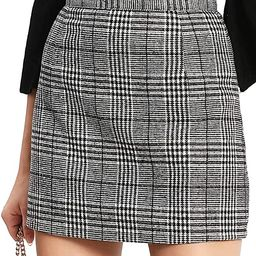 Floerns Women's Plaid High Waist Bodycon Mini Skirt | Amazon (US)