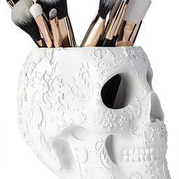 Skull Makeup Brush Holder Extra Large, Strong Resin Extra Large By The Wine Savant (White) | Amazon (US)
