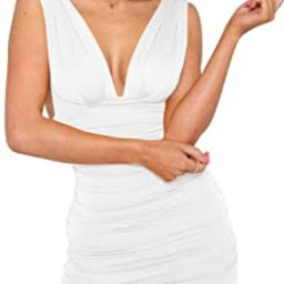 GOBLES Women's Sexy Bodycon Sleeveless Ruched Party Mini Cocktail Dress | Amazon (US)