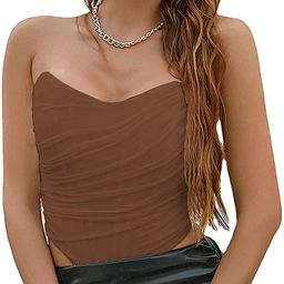 Modegal Women's Vintage Strapless Open Back Boned Mesh Bustier Zip Back Corset Bodyshaper Crop To... | Amazon (US)