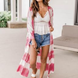 Loving The Days Pink Tie Dye Kimono FINAL SALE | The Pink Lily Boutique