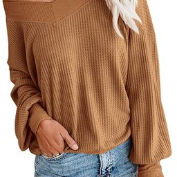 Adreamly Women's V Neck Long Sleeve Waffle Knit Top Off Shoulder Oversized Pullover Sweater | Amazon (US)