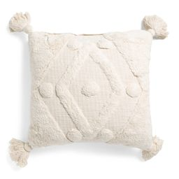 20x20 Overtufted Pillow With Tassels | TJ Maxx