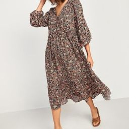 Long-Sleeve Fit & Flare Tiered Midi Dress for Women | Old Navy (US)